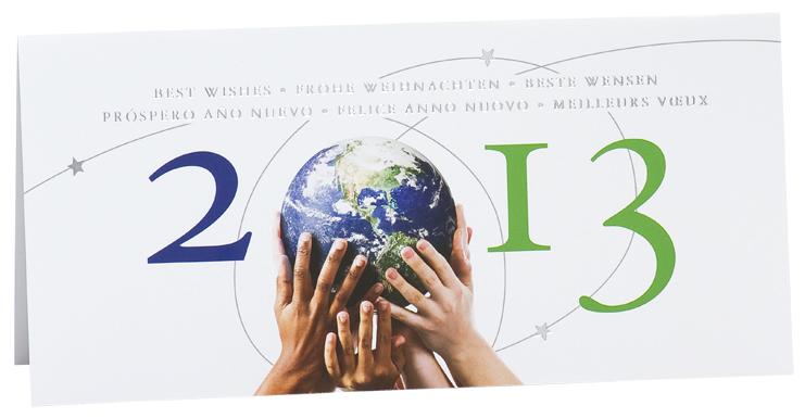 Festtagskarte mit Erde und Jahreszahl 2013 bm842002