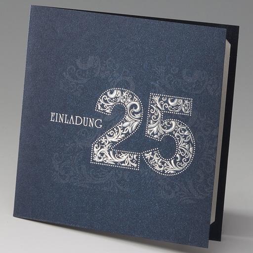 Einladungskarte Jubiläum 25 dunkelblau Silberhochzeit ba982005