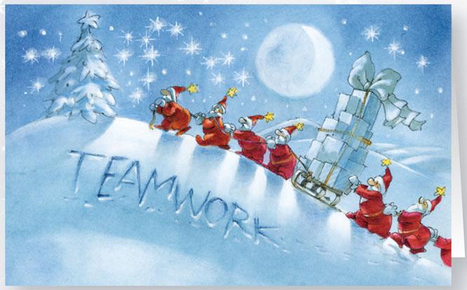 Originelle weihnachtskarte teamwork branchenneutral raw11987 for Originelle weihnachtskarten