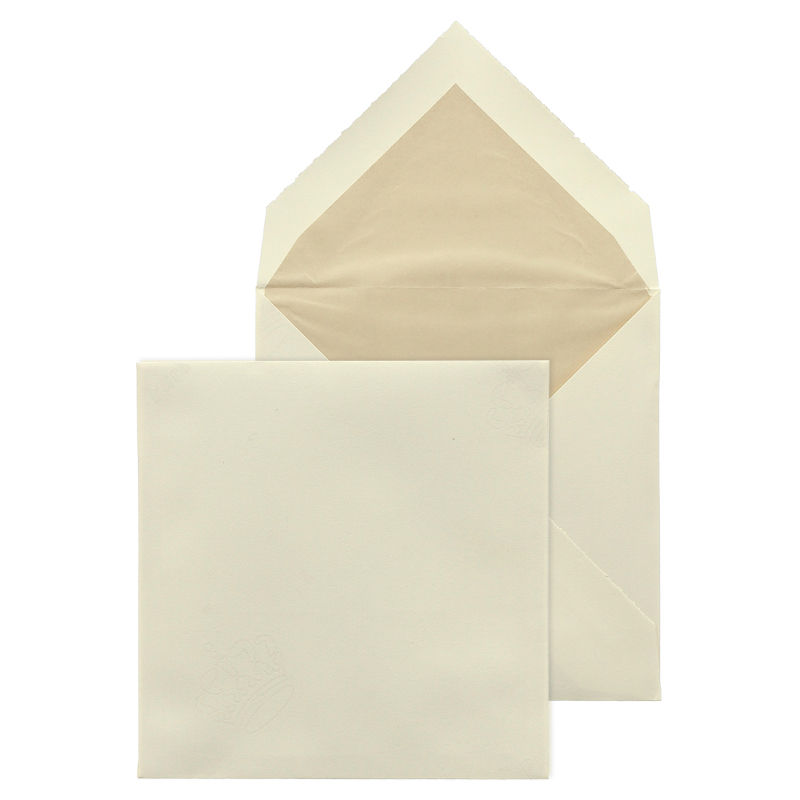 briefumschlag 17x17 cm creme mit b ttenrand beigem seidenfutter. Black Bedroom Furniture Sets. Home Design Ideas