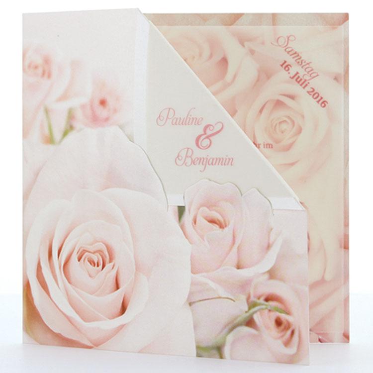 Günstige Einladungskarten Geburtstag: Einladungskarte Romantische Rosenblüten Mit Transparenteinlage
