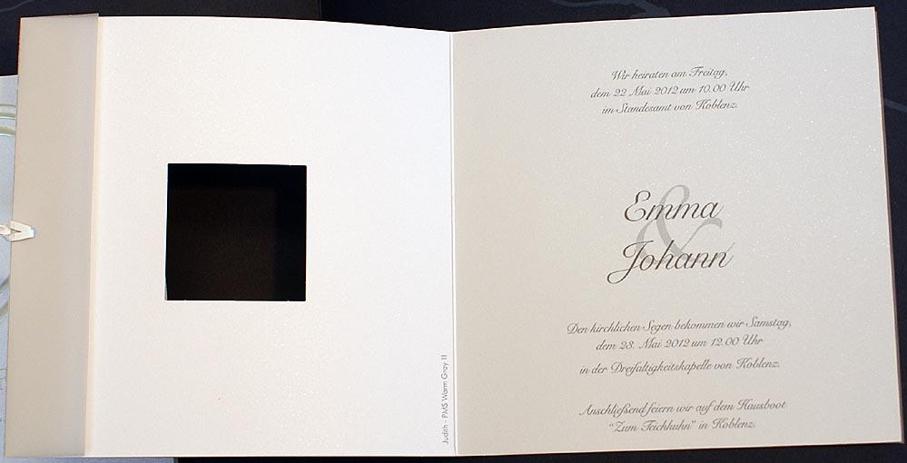 Einladungskarte ex920900 quadratisch mit Transparentpapier
