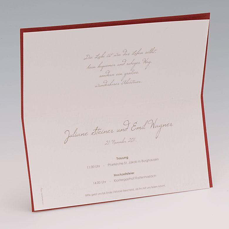Hochzeitskarte Wir heiraten dunkelrot mit Ornament und Text