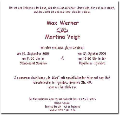 Hochzeit Blog Beispieltexte Hochzeitseinladungen
