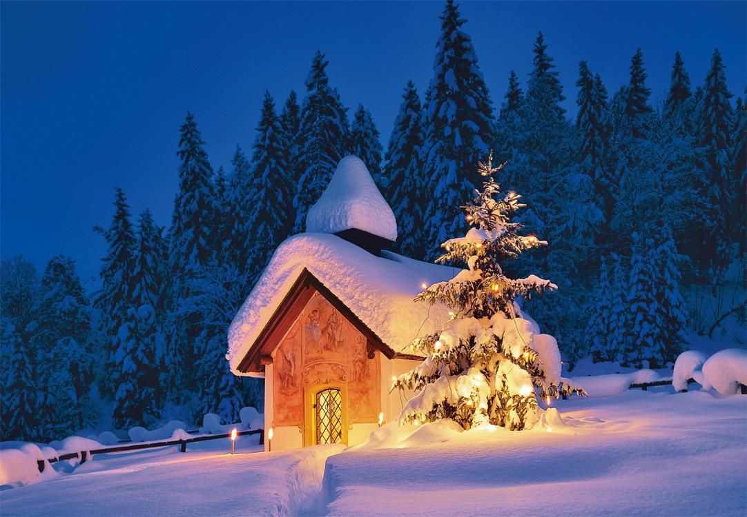 weihnachtskarte mit kapelle in schneebedeckter landschaft. Black Bedroom Furniture Sets. Home Design Ideas