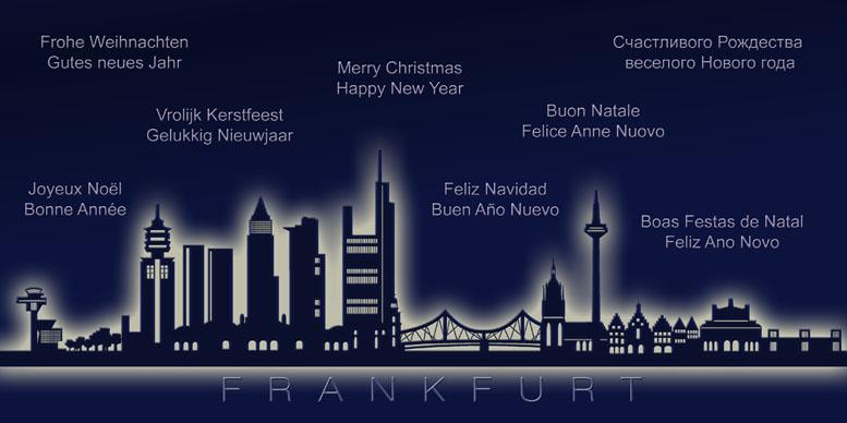 Weihnachtskarte nachtblau frankfurt skyline internationale - Weihnachtskarte englisch ...