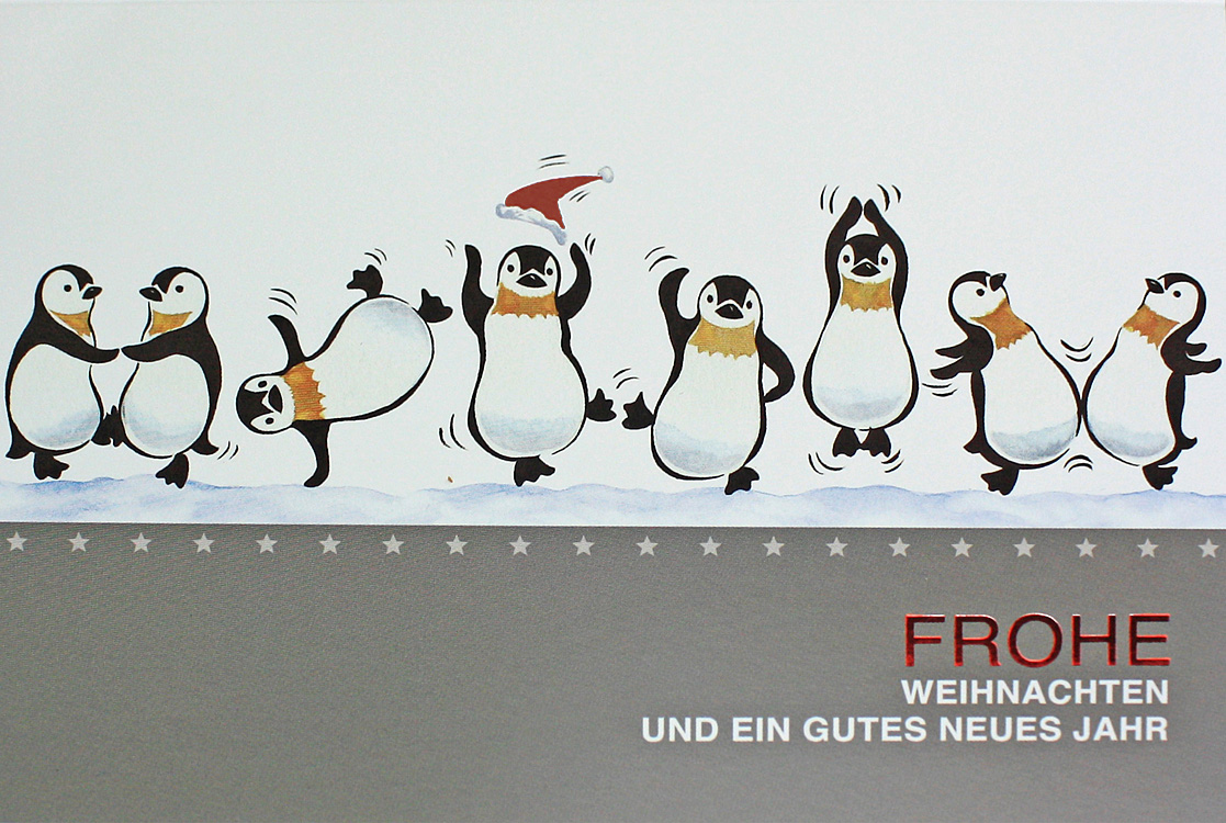 weihnachtskarte witzig mit tanzenden lustigen pinguine. Black Bedroom Furniture Sets. Home Design Ideas