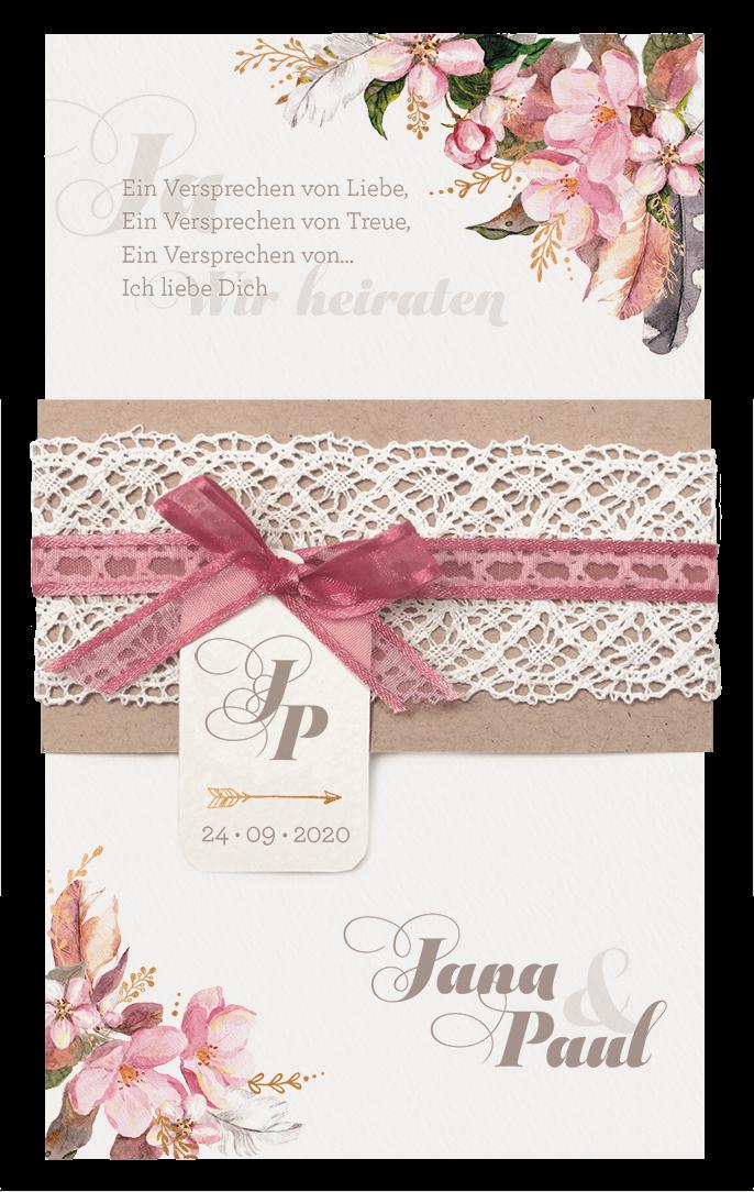 Hochzeitskarte Mit Blumenaquarell Und Brauner Banderole Mit Spitze