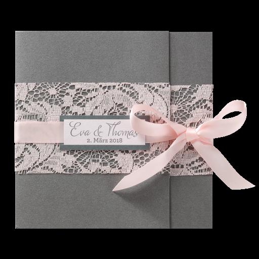 Edle Einladungskarte In Anthrazit Mit Rosa Spitzenband Und