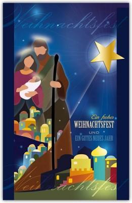 Religiöse Weihnachtskarten.Religiöse Weihnachtsgrußkarte Mit Stern Von Bethlehem Und Jesuskind
