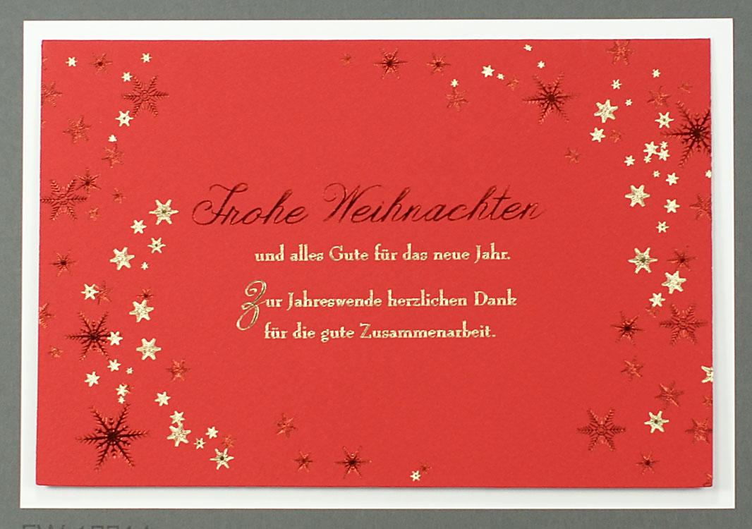 weihnachtskarte gesch ftlich rot gold mit sternen und. Black Bedroom Furniture Sets. Home Design Ideas