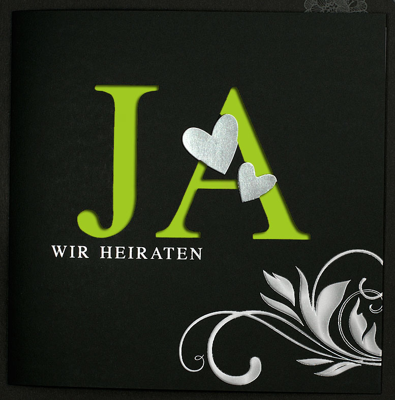 Hochzeitseinladungskarte Quadratisch Schwarz Grun Silber Pr16370