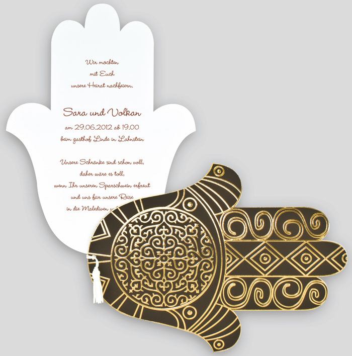 Orientalische Einladungskarte Hand der Fatima dunkelbraun gold