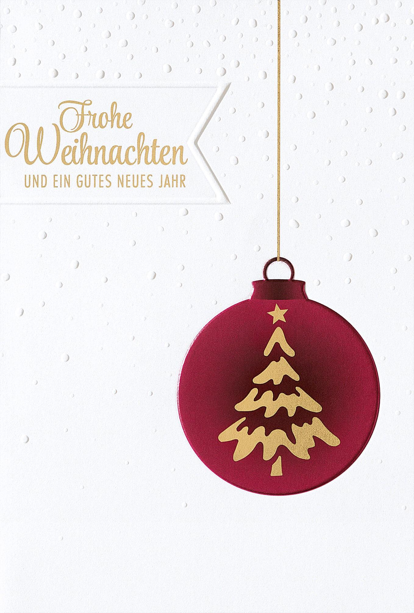 Rote Weihnachtskarten.Weihnachtskarte In Weiß Mit Roter Baumkugel Foliendruck Und Prägung