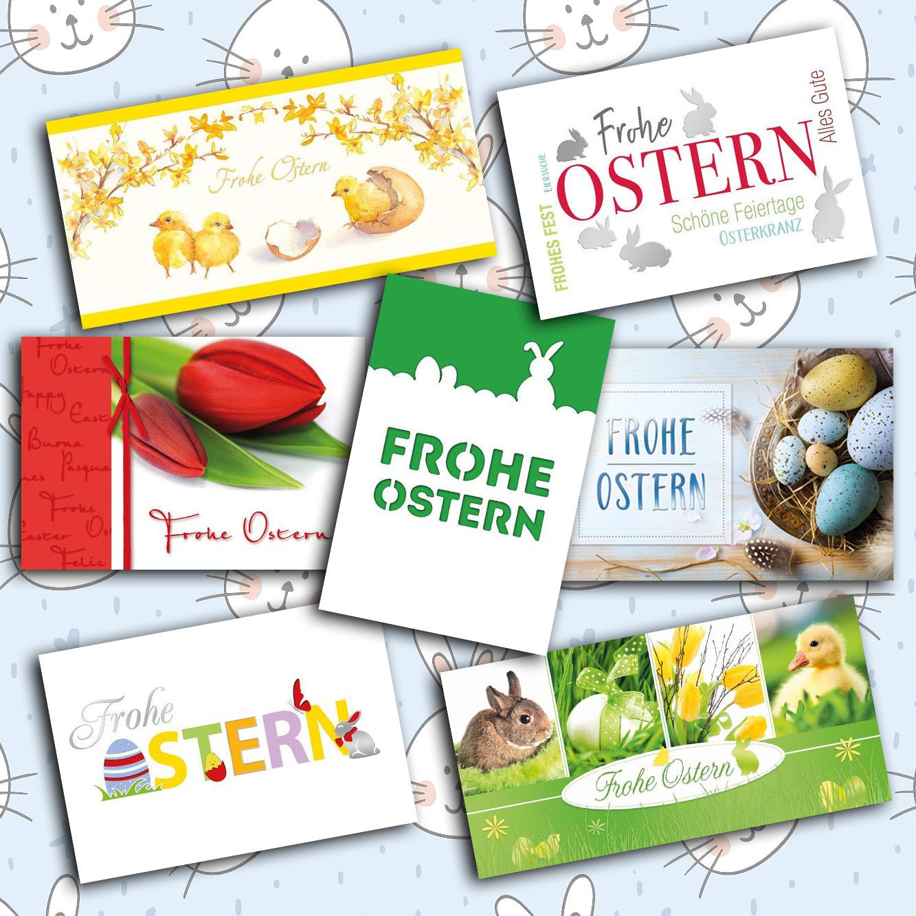 Fröhliche Ostergruß-Karten