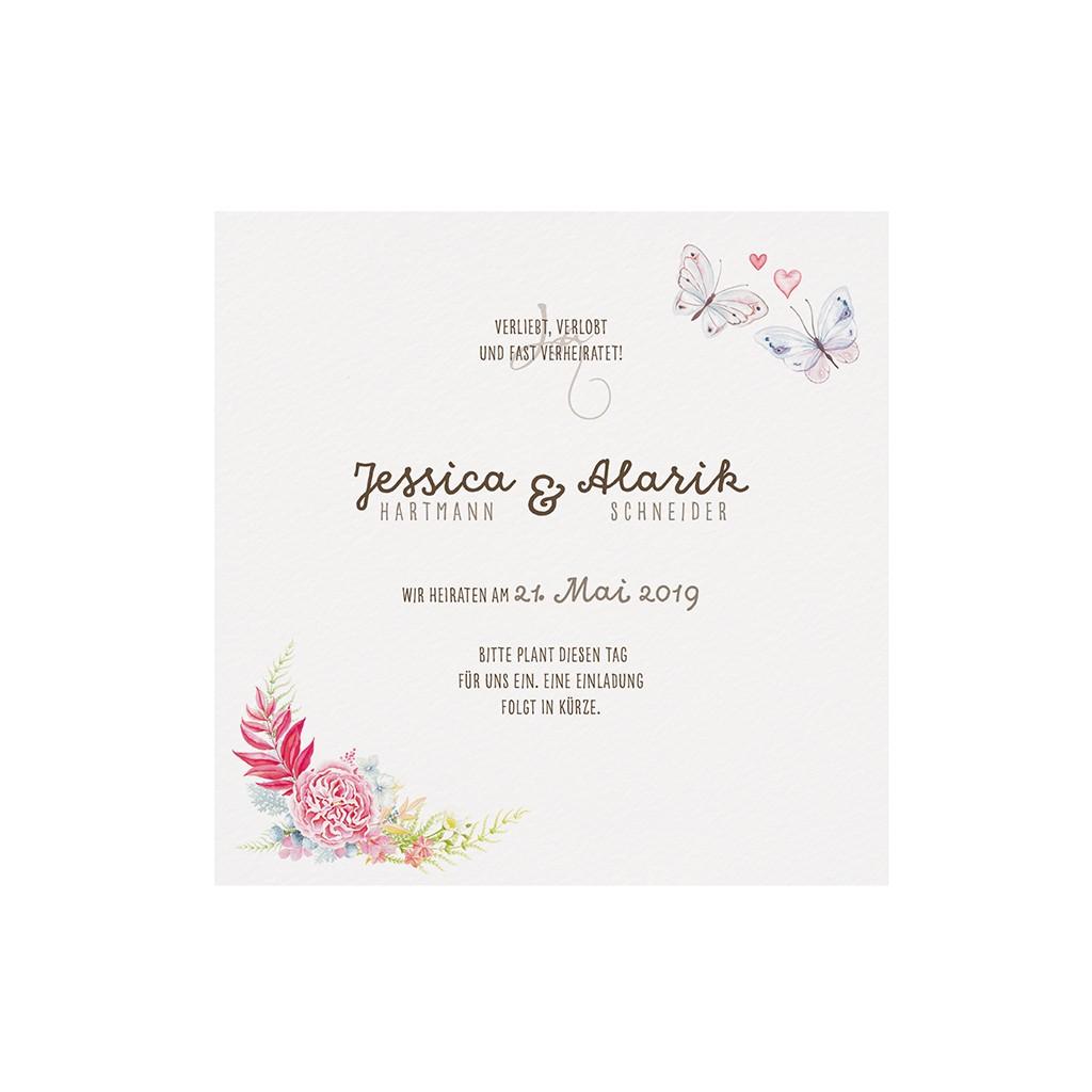 Save the Date Karte Dankkärtchen in creme mit Blumen und