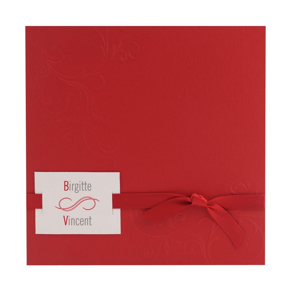 Einladungskarte rot mit Ornament Bändchen und Anhängekärtchen