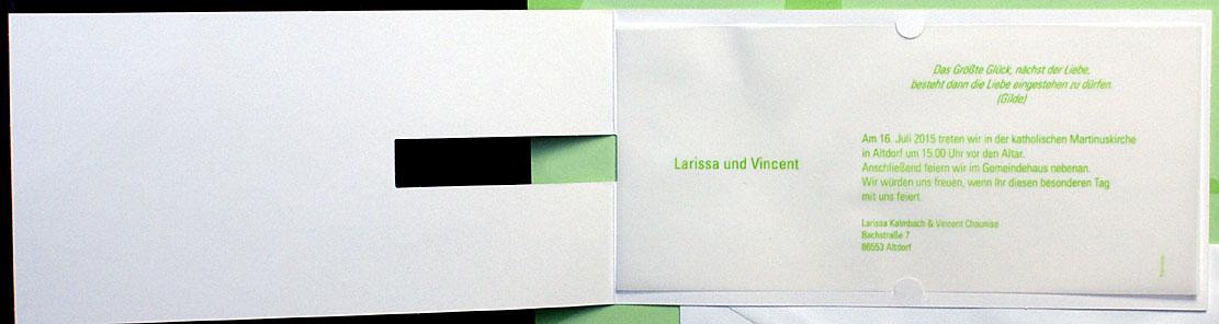 Hochzeitskarte pr weiße Callablüten Langformat