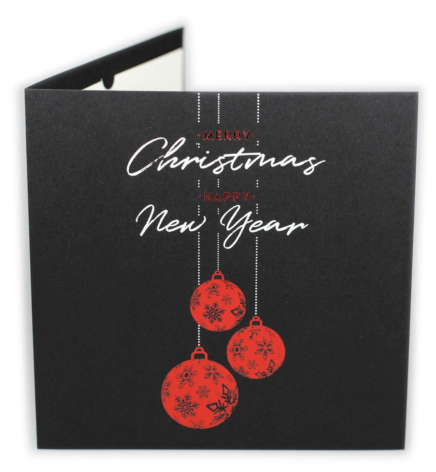 moderne weihnachtskarte in schwarz mit kugeln in rotem. Black Bedroom Furniture Sets. Home Design Ideas