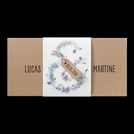 Einladungskarte romantisch aus Naturkarton mit Blumen auf