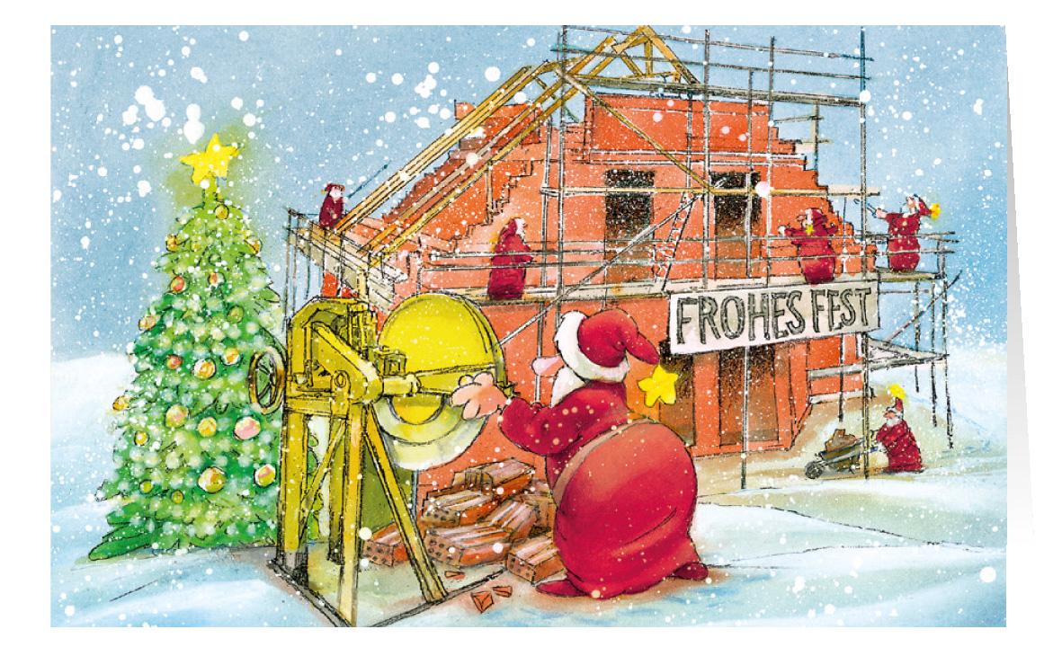 weihnachtskarte branchenkarte hausbau bauunternehmen ger stbau frohes fest weihnachten. Black Bedroom Furniture Sets. Home Design Ideas