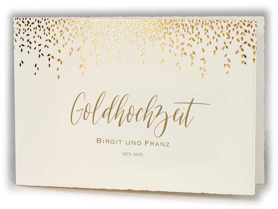 büttenkarte als einladungskarte zur goldenen hochzeit mit