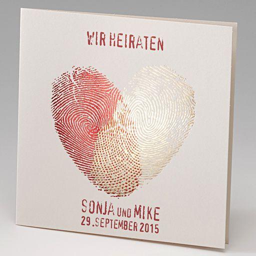 hochzeitskarte mit fingerabdruck in herzform metallic ba723060, Einladungskarten