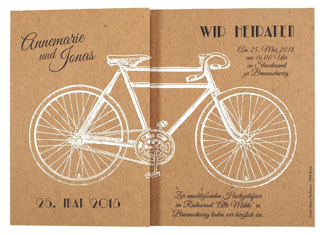 Hochzeitskarte braun mit weißem Fahrrad / Tandem – Hochzeitskarten – Hochzeitseinladungskarten ...