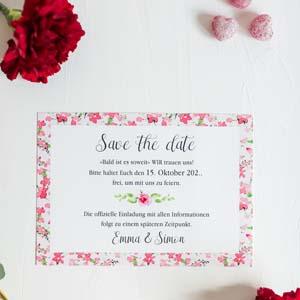 Romantische Save the Date Karte mit blumigem Aufdruck