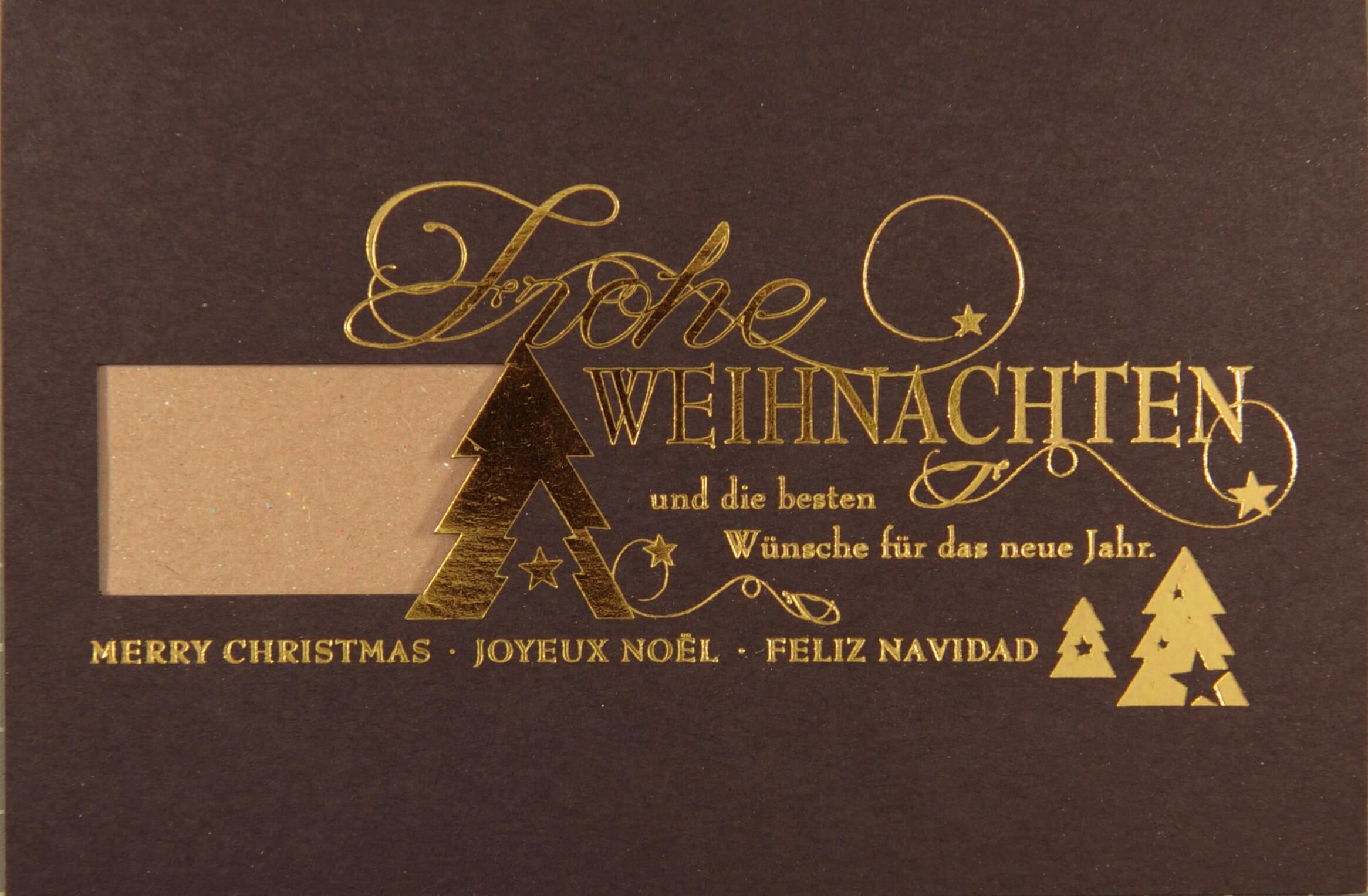 Weihnachtskarten Mit Firmenlogo.Internationale Weihnachtskarte Braun Mit Fensterstanzung Für