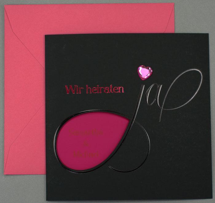 Hochzeitskarten schwarz pink