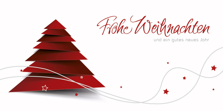 Weihnachtskarten Motive.Weihnachtskarte Weiß Rot Mit Abstraktem Weihnachtbaum