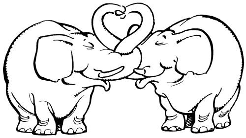 Elefanten Karikatur Stempel Hochzeitskarten Embossing 01