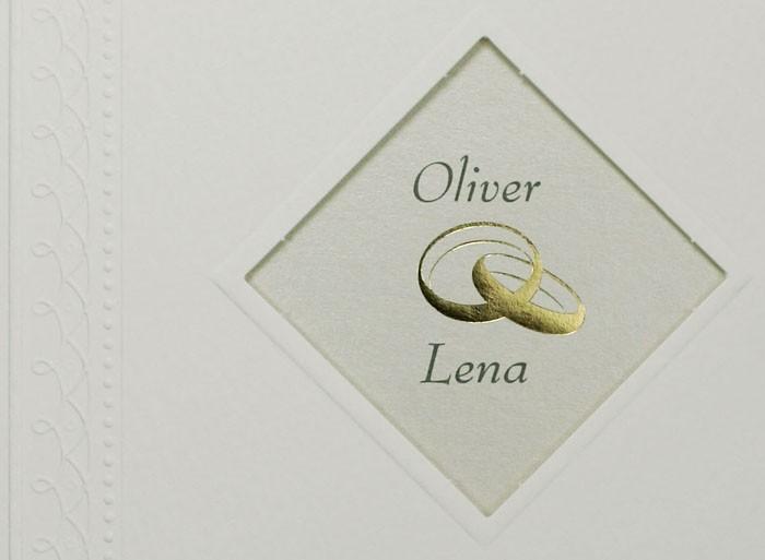 Hochzeitskarte Weiss Ornamentbordure Goldene Eheringe Ba723161