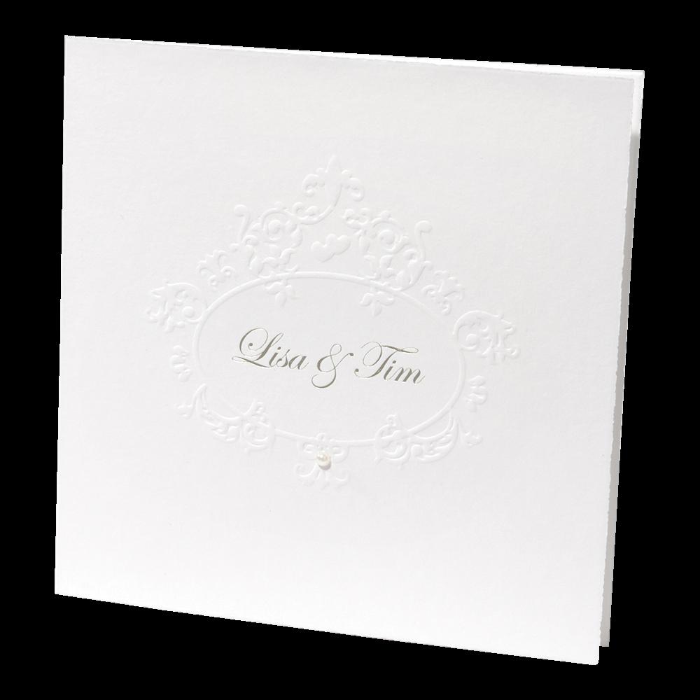 Einladungskarte In Weiss Mit Ornamentrelief Und Perle Buttenrand