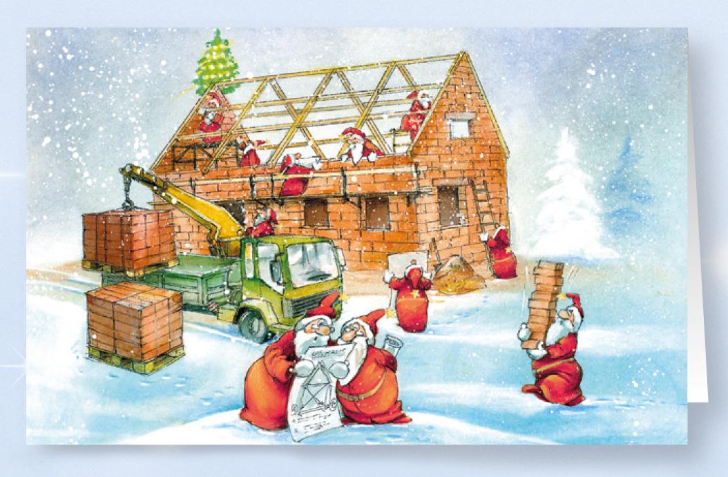 Weihnachtskarte branchenkarte f r bauunternehmen hausbau for Hausbau bilder