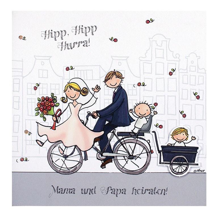 Hochzeitskarte Mit Brautpaar Und Kind Ern Auf Einem Fahrrad Vor