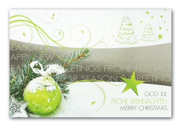 Moderne Weihnachtsgrüße Für Karten.Moderne Weihnachtskarte International In Grün Weiß Und Grau