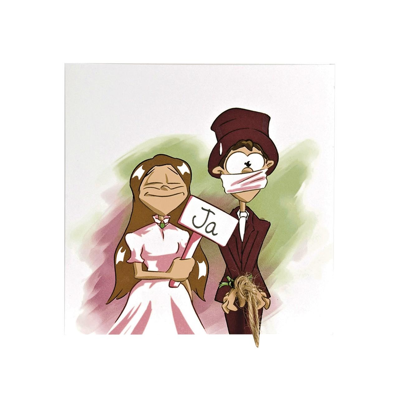 Hochzeitskarte Comic Lustig Braut Sagt Ja Brautigam Erst Spater