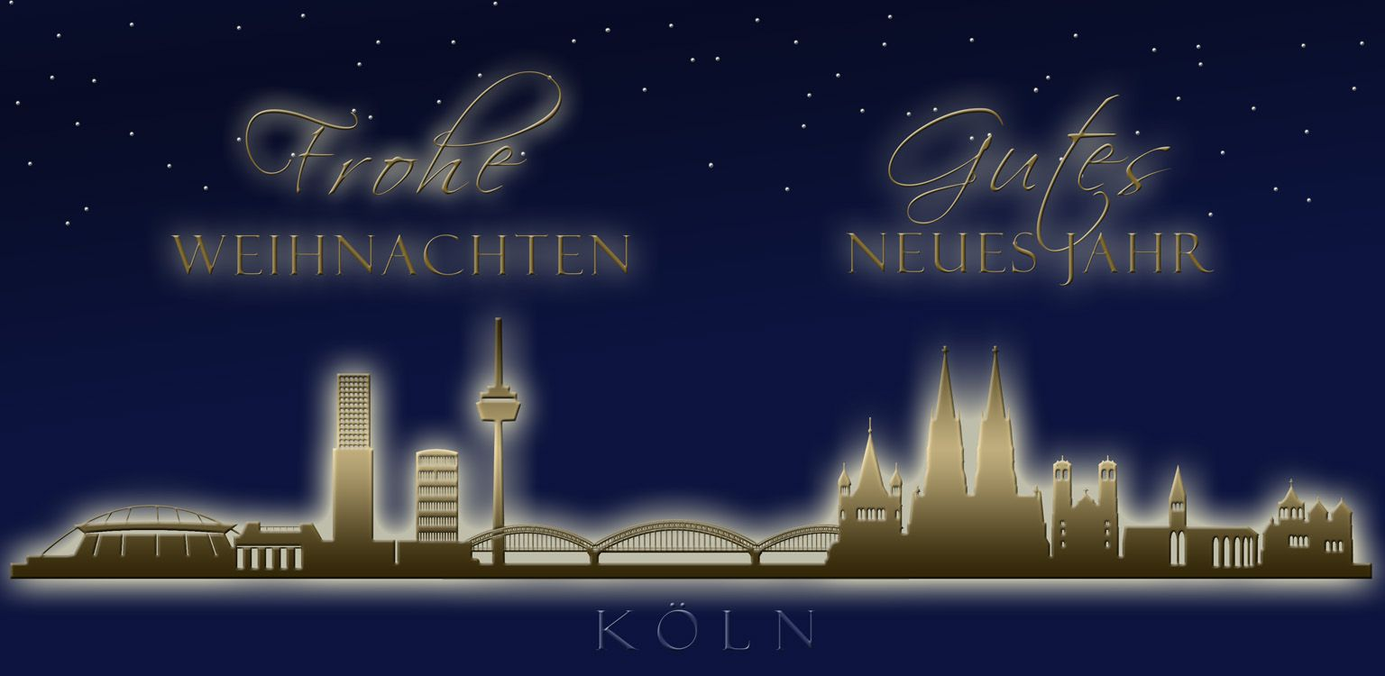 Weihnachtskarte nachtblau Köln Skyline Weihnachts Neujahrsgruß