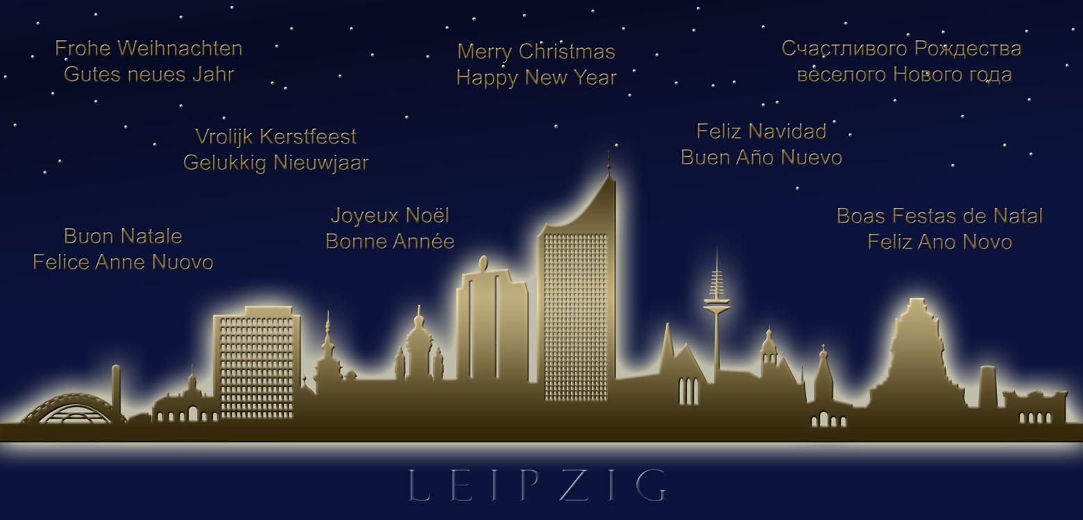 weihnachtskarte nachtblau leipzig skyline internationale gr e weihnachten weihnachtskarten