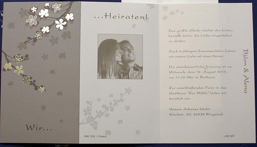 einladungskarte fc481637 blütenzweige goldfolienprägung, Einladung