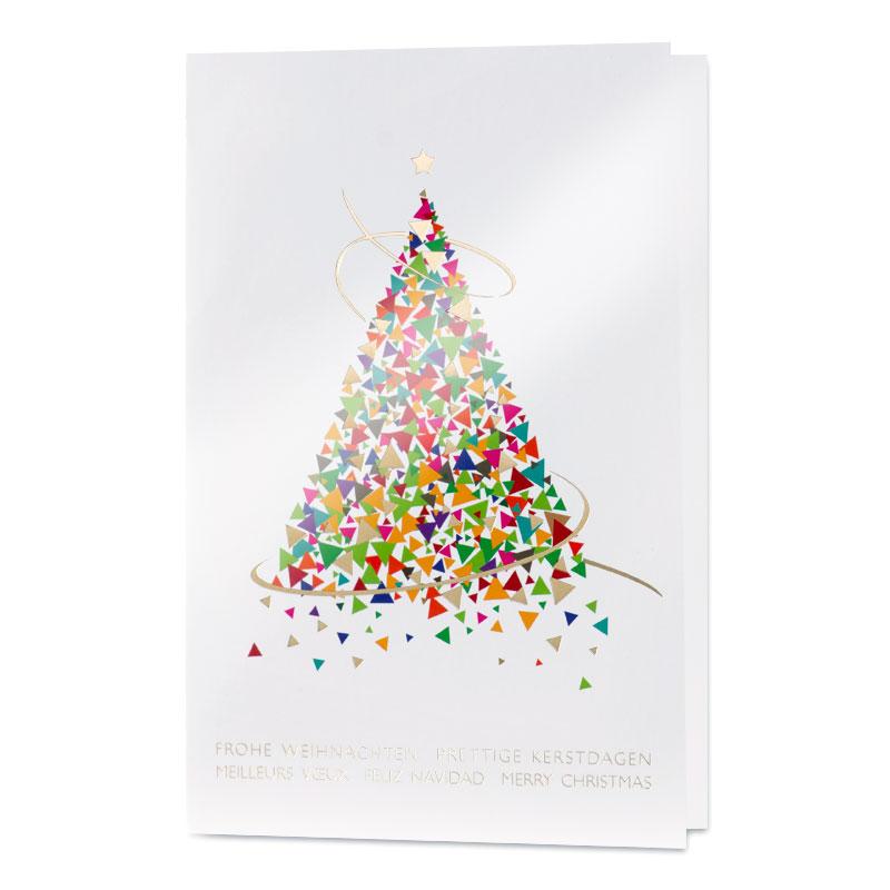 Weihnachtswünsche Modern.Peppige Weihnachtskarte Aus Bunten Dreiecken Mit Internationalen