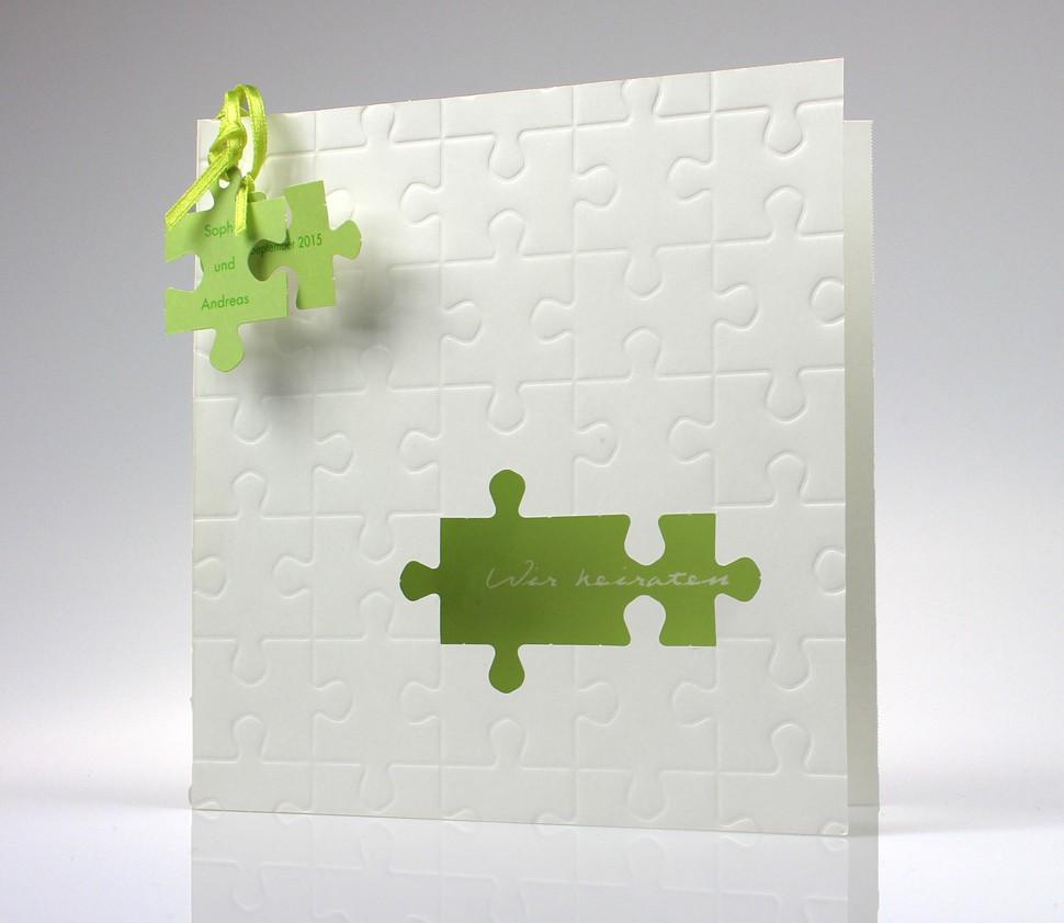 100 Hochzeitskarten pr1274 Hochzeitseinladung mit Puzzleteilen