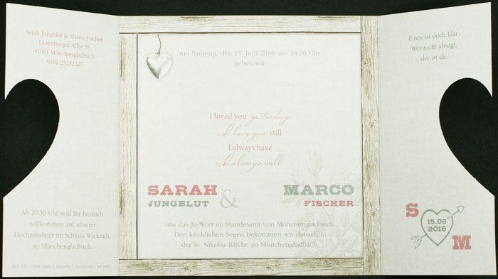 Hochzeitskarte Mit Gestanztem Herz Folienpragung Holzdesign