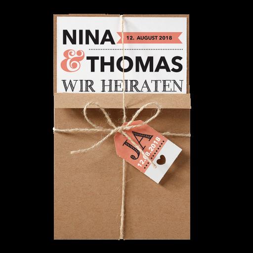 Hochzeitskarte Modern In Packpapier Aufmachung Mit Schnur Und Label