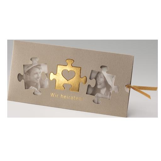 Hochzeitskarte Schiebekarte Für Fotodruck Mit Gold Puzzle U2013 Hochzeitskarten  U2013 Hochzeitseinladungskarten U2013 Einladungskarten Mit Eigenem Foto U2013 Fotodruck  ...