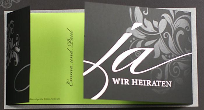 Hochzeitskarte Mattschwarz Grun Ja Wir Heiraten Ornament Pr16322