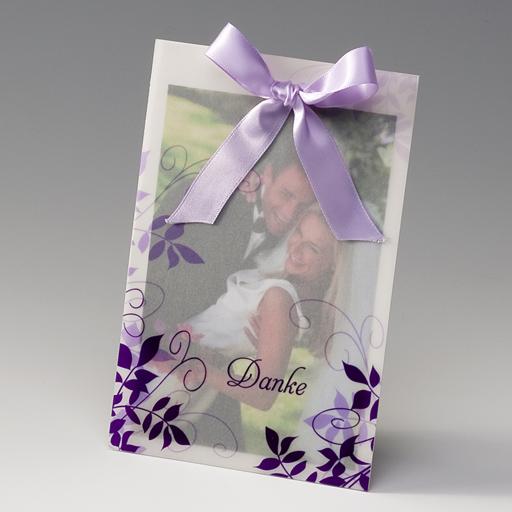 Dankkarte Fotodanksagungskarte Mit Transparent Mit Violetten Ranken U2013  Danksagungskarten U2013 Hochzeit Danksagungskarten U2013 Mit Eigenem Foto U2013  Alle Karten.de