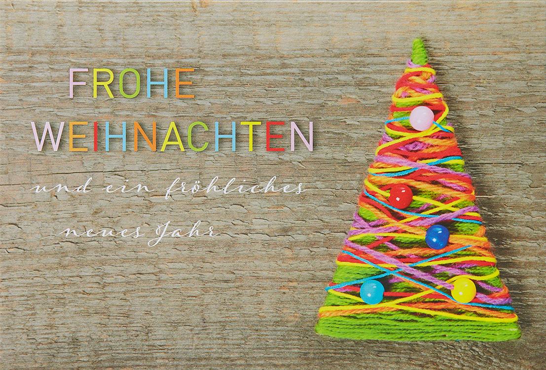 Weihnachtskarte farbenfroh mit weihnachtsbaum aus wolle - Moderne weihnachtskarten ...